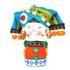 Orange Chinese lovely minority hanging doll with a blue hood on head