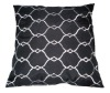 White Polyester Fabric Black Embroidered Feather Cushion