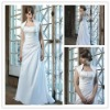elegant strapless a-line satin embroidered wedding dress, WD002