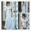 elegant strapless a-line satin embroidered wedding dress, WD002