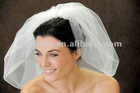 Pearls Andrhinestone Flowers Comb attached to Bubble Veil Scattered with Rhinestones Short Bridal Veil