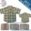2012 kids clothes grid short sleeve boys shirts