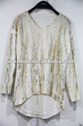 2013 new fashion ladies silver stamp loose knit pullover sweater
