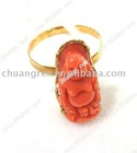 natural coral carved buddha 18k solid gold ring