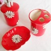 flower ceramic bathroom set