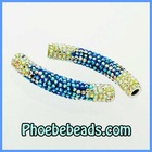 Shamballa Tube Beads Wholesale Multicolor Crystal Rhinestone Pave Alloy Connector Spacer Handmade For Bracelets CTB-025