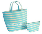 Bright blue strap plain paper tote bag set