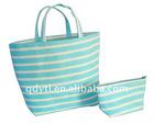 Bright blue strap plain paper tote bag set