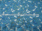 7MM sequin /spangle on mesh/ tulle net embroidered /embroidery fabric with hand cut holes