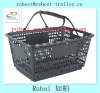 Most popular & best price supermarket plastic wire shopping basket with two handle RHB-604P