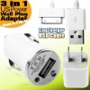 3 in 1 US Power Wall Plug Adapter Car Charger USB Cable For iPhone 4s 4 3gs 3g