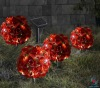 S/4 solar red rose ball with plastic stake