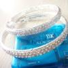 Crystal Double Line CZ jewelry Hoop earrings, fashion CZ hoop earrings, gold brass earrings