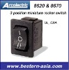 Arcolectric 3 Position Miniature Rocker Switch: H8620VB