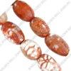 Leopard agate beads, drun, 16~20x14mm, sold per 15-inch strand