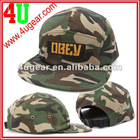 woven label patch flat brim/bill camo fitted hat, camo cap