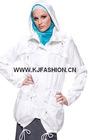 Hooded white cotton tunic