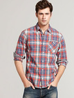 men's long sleeve casual plaid shirt
