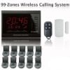 99 Zones LED Display Wireless Table Waiter Service Call Calling Paging System w 3-press Table Button for Restaurant AT-ECS-R