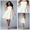 MC1170 Flowers Strapless Sleeveless Sash Beaded Short Knee Length Homcoming Dresses