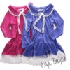 100% cotton long sleeve dresses for girls