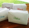 Personalized Waffle Weave Make Up Bags