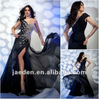 JE0179 Sweetheart One-shoulder Black Chiffon Shiny Evening Dresses With Beads