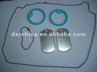 Military Dog Tag Set Supplie,1Set=2pcs 3.8cm Light Blue Silicon Rubber+2pcs Dog Tag+1pc S/S Long Chain+1pc Short Chain