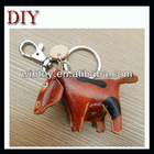Leather ox bull key chain
