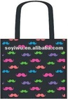 Laminated Non woven shopping promotion bags Mustache Eco-friend