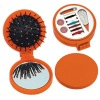 Sewing kit with pocket mirror and hair brush