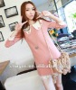 Elegant Style Lace Embellished Flower Collar Dress Pink NX12092615
