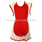 Blank Red-white sleeveless 100% POLYESTER dazzel basketball jersey uniform