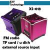 XS-018 fm radio card reader speaker with remote TF Card Speaker with FM Radio U Disk External Source Input