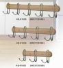 Morden rubber wooden hooks in natural color for 3hooks,4hooks,5hooks