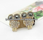Fashion magnetic Owl charms earrings with rhinestone for girl