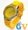 Geneva Silicone Gel Band Watches for Men and Women Christmas Day Gift Watches Yellow