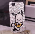 cute long ear dog rhinestone phone cover for iphone 4/4s cartoon phone housing for iphone 4g 301