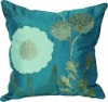 Faux silk embroidery cushion --- floral design