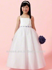 FG-071 Beaded Straps White Flower Girl Dress Pictures With Bow