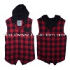 New Style Sleeveless Hooded Check Vest