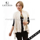 2013 Girl Spring new fashion waistcoat Beige Cardigan Knitted Rabbit Fur Vest #HM-2