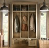 Solid wood built-in wardrobe furniture classic style natural color