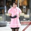 2012 Lady's Rex Rabbit fur and fox fur Vest Pink
