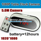 Motion Detection 1080p table Clock hidden Camera with big battery 12hours recording