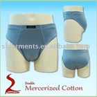 Double mercerized cotton mens underwear brief
