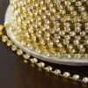 crystal rhinestone cup chain with gold plated