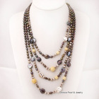 8-9mm Round, Rice Pearls, 10-11mm Coin Pearls and Yellow Jade Necklace