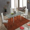 Clear glass chrome legs dinner table-L808A