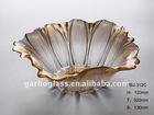 Lotus Leaf Shaped Golden Glass Fruit Bowl,Wholesale Glassware